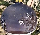 """Оригинальные подарки - Ёлочный шар """"Зимняя ночь"""", ручная роспись, 10 см"""