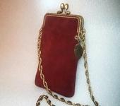 Для мобильного телефона - Чехол для смартфона замшевый бордовый с фермуаром(продан, возможен заказ)
