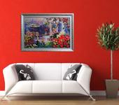 Оригинальные подарки - Картина лентами - Летний пейзаж с зонтиком