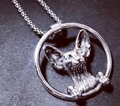 Кулоны, подвески - Сфинкс - кот - кулон - серебро 925