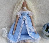 Куклы Тильды - Кукла Тильда в голубом платье с зонтиком