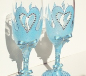 """Бокалы, стаканы, рюмки - Фужеры """"Свадебные"""" (цвет неба)"""