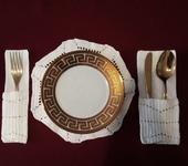 Скатерти, салфетки - Набор из кружевной салфетки под тарелку и кармашков для столовых приборов