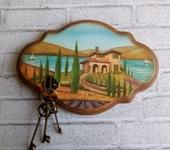 "Прихожая - Панно - ключница - вешалка ""Вилла в Тоскане""."