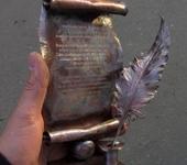 Оригинальные подарки - Медный свиток с пером, с алмазной гравировкой