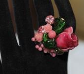 Комплекты украшений - Кольцо лэмпворк с бутоном полу-распустившейся розы Рубиновое