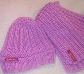 Одежда для девочек - Вязаный комплект: шапочка и шарфик.