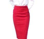 Юбки - Дизайнерская юбка-карандаш из ярко-красного твила