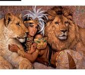 Картины со стразами - Картина Девушка и львы без рамки