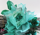 Броши - Брошь – заколка,  шелковая роза «Бегущая по волнам». Цветы из ткани