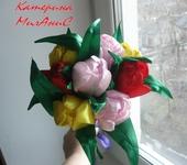 Цветы - Тюльпаны из атласных лент