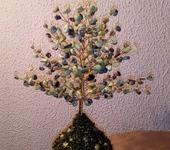 """Оригинальные подарки - Дерево счастья """"Весенний каприз"""" из желто-зеленой бирюзы"""