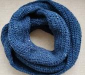 Шарфы - Вязаный синий снуд