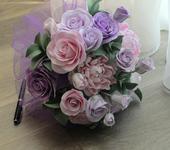 Цветы - Букет невесты с пионами и розами ручной работы из японской полимерной глины