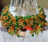 Комплекты украшений - Осенний браслет лэмпворк Грибная пора