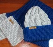 Одежда для девочек - Детский вязаный комплект. Шапочка и шарф.