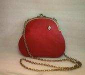 Сумки, рюкзаки - Маленькая кожаная сумочка рябиново-красная
