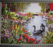 """Вышитые картины - Картина """"Лебеди в пруду"""""""
