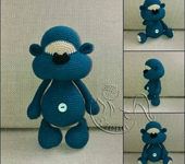 Вязаные куклы - мишка-Печенька №1