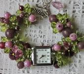 """Часы - Часы-браслет с натуральным лепидолитом, бусинами лэмпворк """"Аметистовый"""