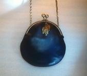 Сумки, рюкзаки - Маленькая сумочка кожаная темно-синяя