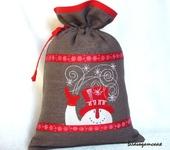 Оригинальные подарки - Мешочек с вышивкой Снеговик
