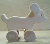 Развивающие игрушки - деревянная каталка-собачка