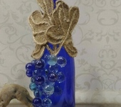 Декоративные бутылки - Декоративная бутылка « Виноград»  синяя