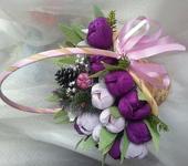 Оригинальные подарки - Тюльпаны в корзине.