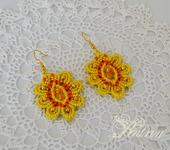 Серьги - Серьги макраме. Жёлтый цветок.