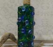 Декоративные бутылки - Декоративная бутылка  «Жар-птица» синяя