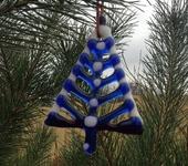 Оригинальные подарки - Витражная синяя елочка