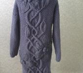 Верхняя одежда - Пальто с объемными цветами, цвет серый джинс