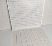 Статуэтки - Виниловый фотофон Белый кирпич (пол/стена) 50х100 см