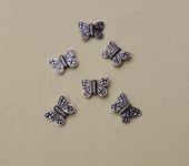 Фурнитура для бижутерии - Металлическая разделительная бусина в форме бабочки  20шт