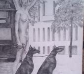 Рисунки и иллюстрации - Девушка с доберманами.