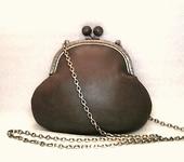 Сумки, рюкзаки - Маленькая сумочка кофейного цвета кожаная Ретро
