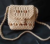 Сумки, рюкзаки - Плетеная женская сумка с деревянными бусинами