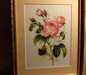 Вышитые картины - Вышитая картина Розочка с бабочкой