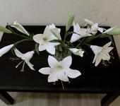 Элементы интерьера - Ветка белой лилии из японской самоотвердевающей полимерной глины Claycraft by DECO