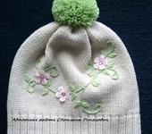 """Одежда для девочек - Мериносовая шапочка для девочки """"Яблоневый цвет"""""""