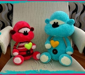 Вязаные куклы - мишка Печенька №2