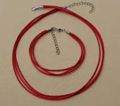 Фурнитура для бижутерии - Вощённый шнурок с браслетом (3-х рядные)  1шт