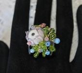 Комплекты украшений - Кольцо с бутоном лэмпворк Цветочное