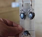 Комплекты украшений - Комплект ( серьги и кольцо) серебряный с натуральным ониксом