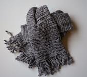 Другие аксессуары - Серый шарф с бахромой