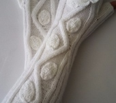 Варежки, митенки, перчатки - Митенки длинные Розы, белые