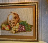 Вышитые картины - Вышитая картина Натюрморт с виноградом
