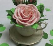 Цветы - чайная роза в чайной чашке