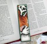 """Элементы интерьера - Вышитая закладка """"Тигр"""""""